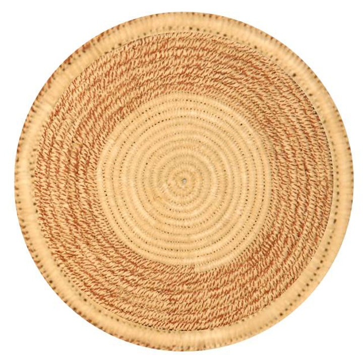 Woven hot pad (trivet) and center piece with blended white and maroon rings (TP001)