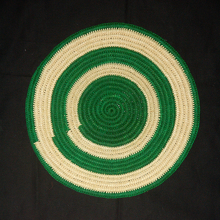 Woven hot pad (trivet) and center piece with green and white rings (TP003)