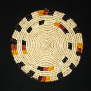Woven hot pad (trivet) and center piece with earth-tone bands
