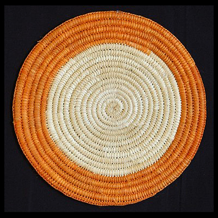 Woven hot pad (trivet) and center piece with orange ring and white center (TP042)