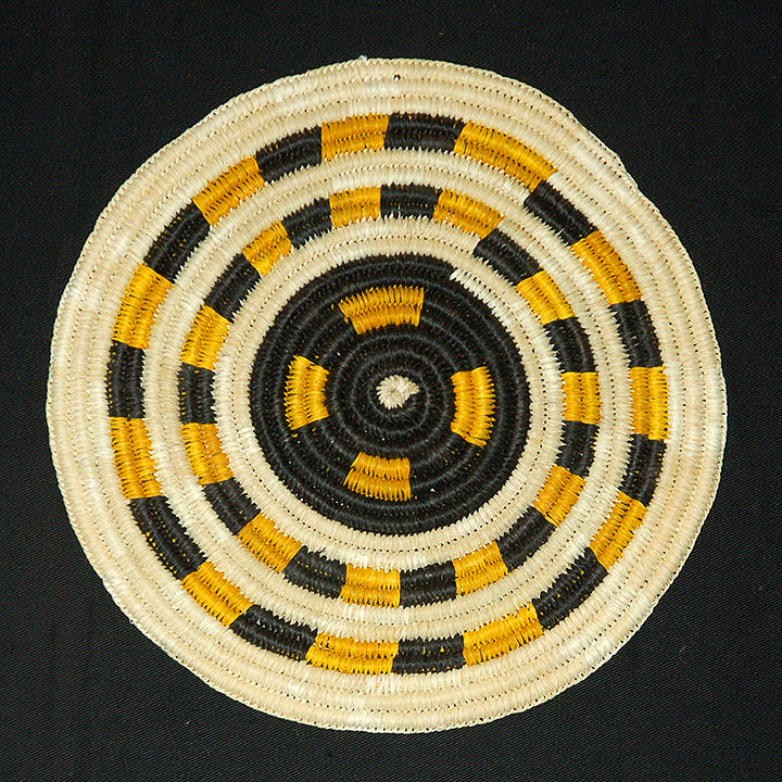Woven hot pad (trivet) and center piece with black and yellow bands (TP057)