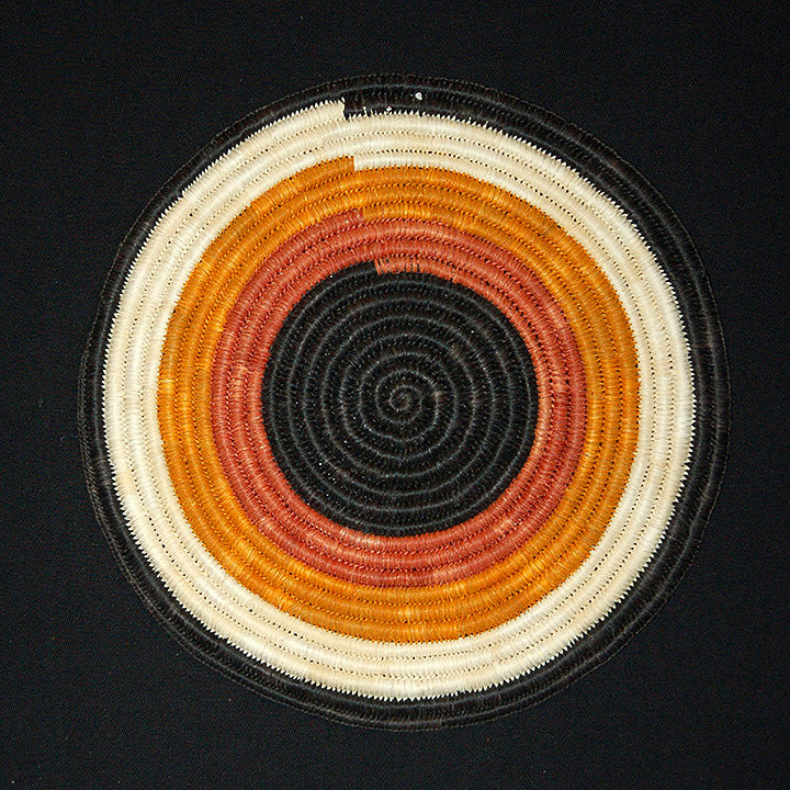 Woven hot pad (trivet) and center piece with 4 earth-tone bands (TP108)
