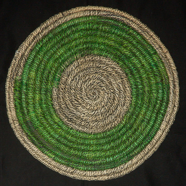 Woven hot pad (trivet) and center piece with blended green rings (TP115)