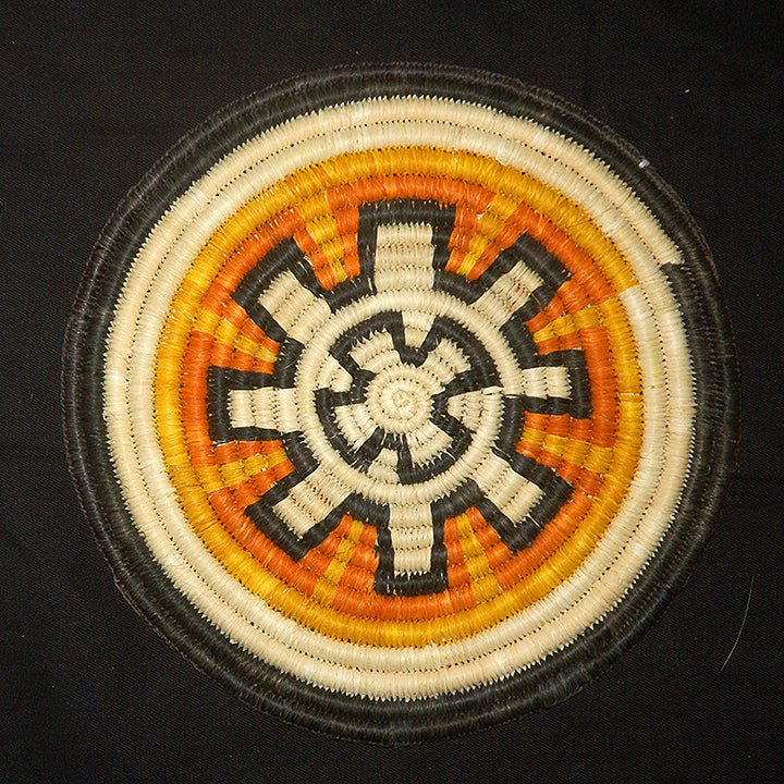 Woven hot pad (trivet) and center piece with geometric sun (TP121)