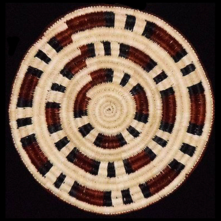 Woven hot pad (trivet) and center piece with red and black bands (TP123)