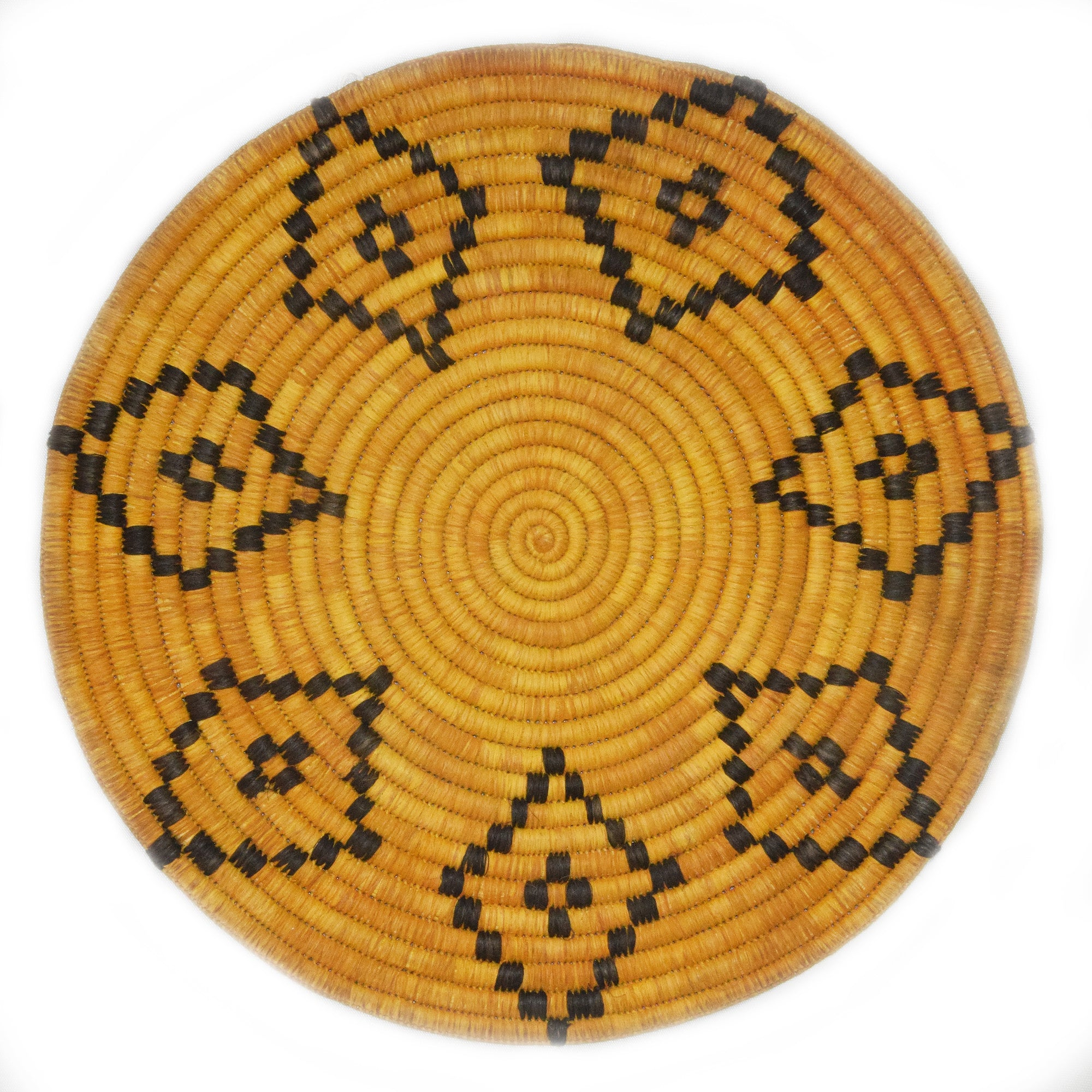 Woven hot pad (trivet) and center piece - yellow with diamond figures (TP103Y)