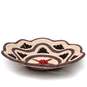 Elegant Decorative Basket in Cream and Brown - Handwoven and Fair Trade