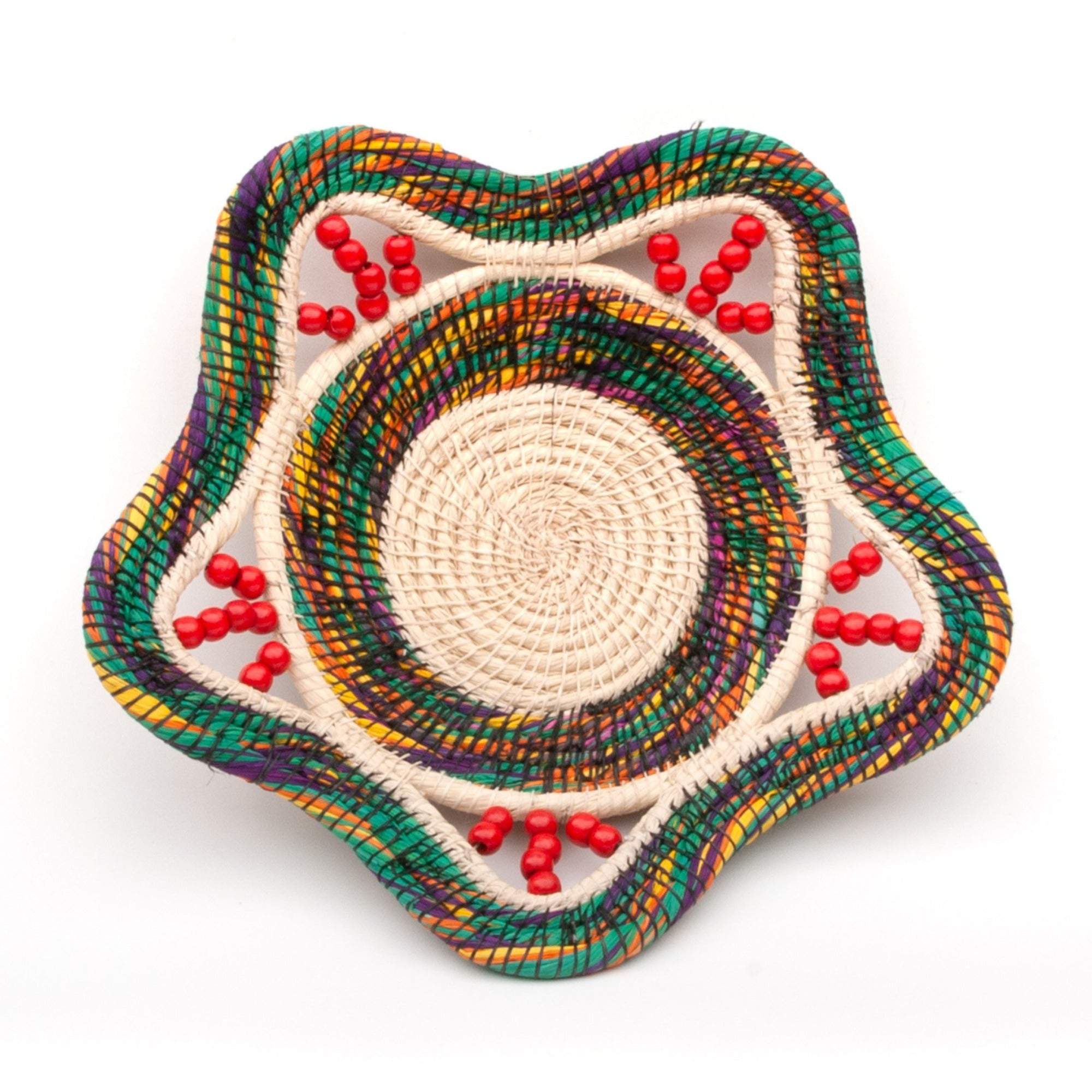 Beautiful Multi-Colored Handwoven Basket- Fair Trade