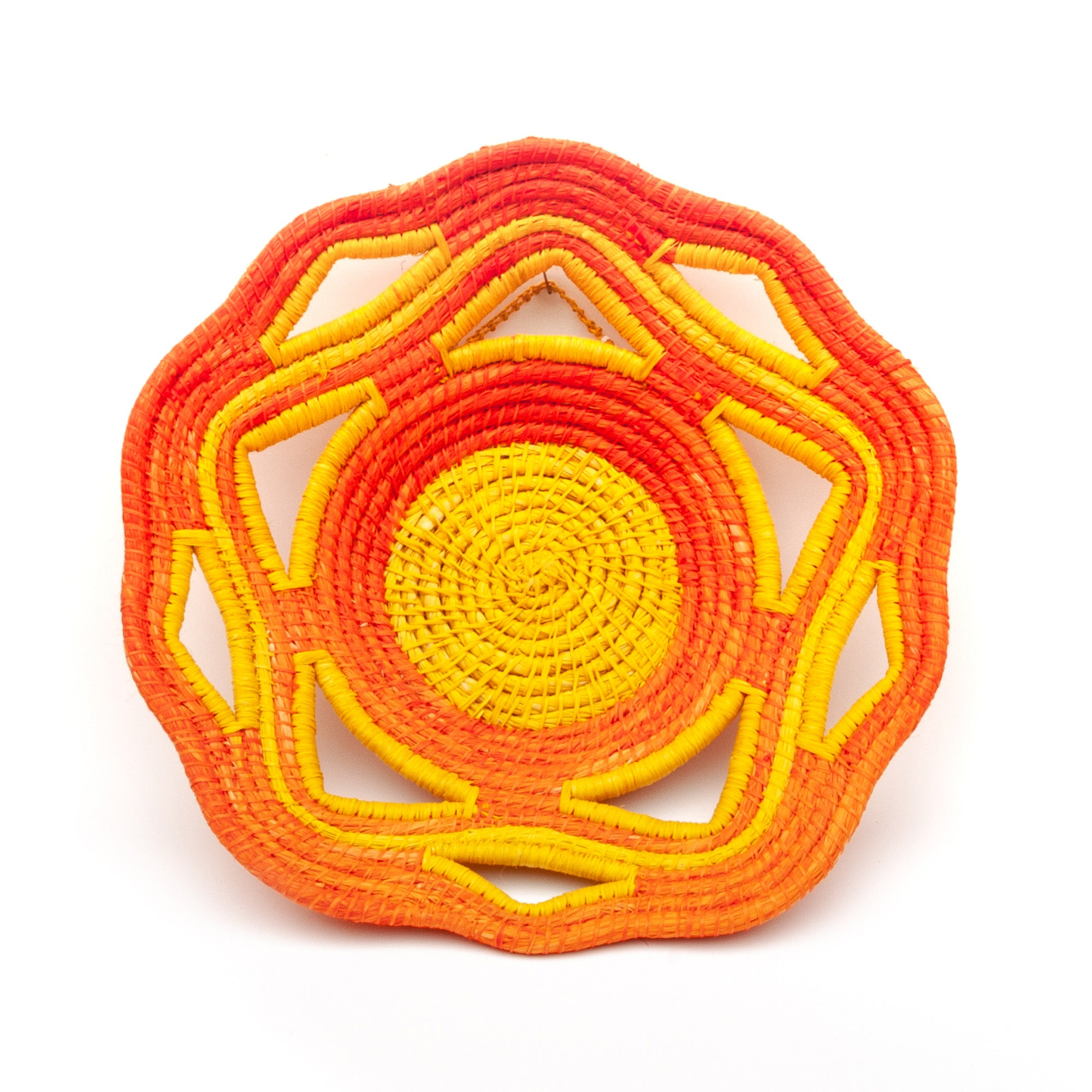 Vivid Orange and Yellow Handwoven Fair Trade Decorative Basket