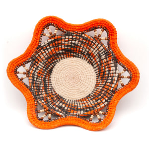 Fall Harvest Decorative Basket in Orange, Cream and Brown - Handwoven Fair Trade