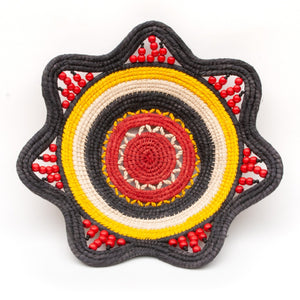 Stunning Decorative Basket in Red, Black, and Yellow - Handwoven and Fair Trade