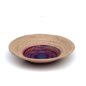 Elegant Decorative Basket in Natural Cream with a Multi-Colored Center