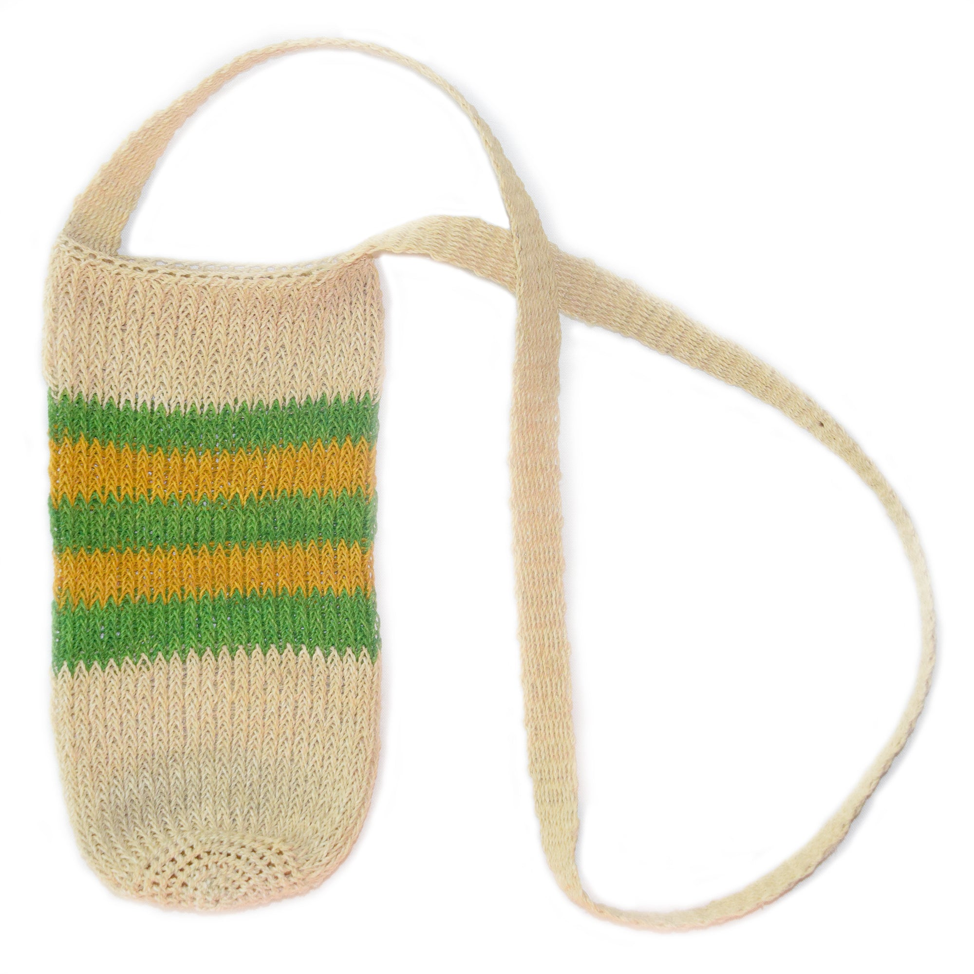 Fair-Trade Bottle Carrier/Wine Tote double green and yellow bands (WCC162)
