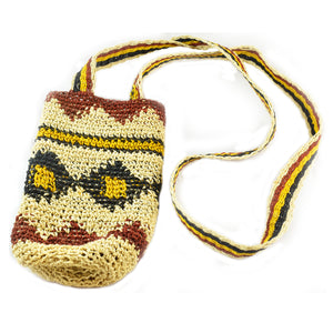 Fair-Trade Bottle Carrier/Wine Tote with Bora native pattern (WCSF01)