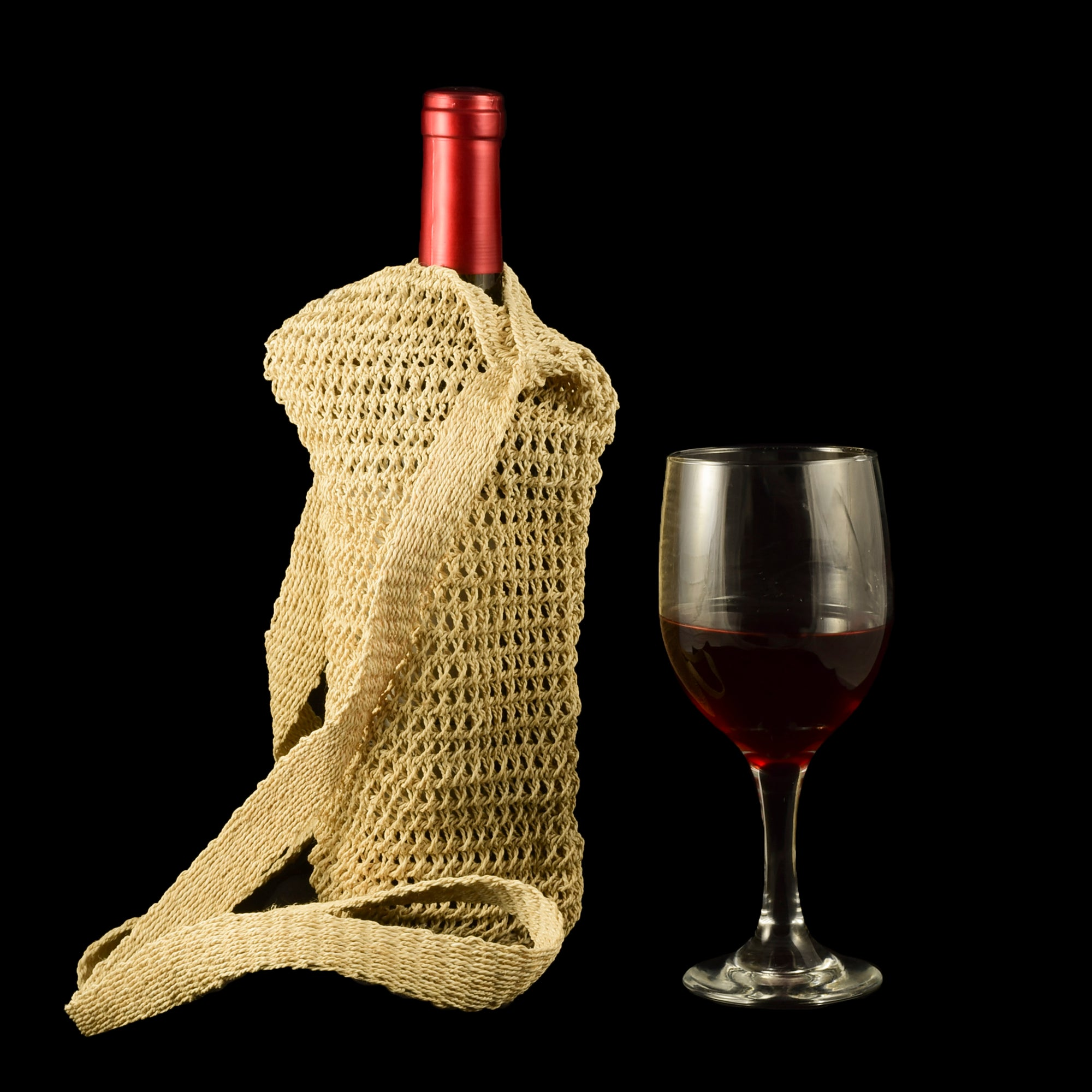 Fair-Trade Bottle Carrier/Wine Tote with natural white chambira (WC100)
