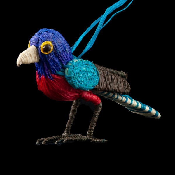 TRADE CHRISTMAS TREE ORNAMENT - BLUE-CROWNED TROGON - WOVEN BY PERUVIAN AMAZON ARTISAN