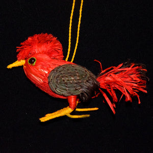 COCK OF THE ROCK BIRD FAIRTRADE CHRISTMAS TREE ORNAMENT WOVEN BY PERUVIAN AMAZON ARTISAN