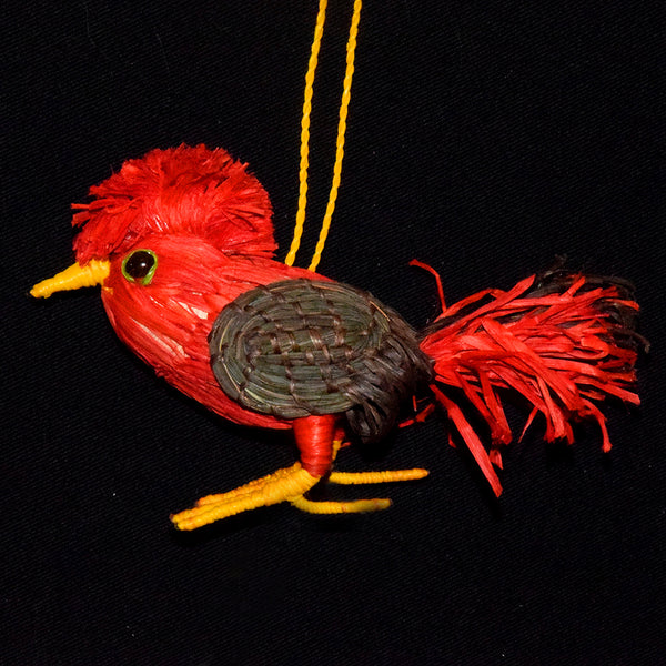 FAIR -TRADE CHRISTMAS TREE ORNAMENT - COCK OF THE ROCK - WOVEN BY PERUVIAN AMAZON ARTISAN