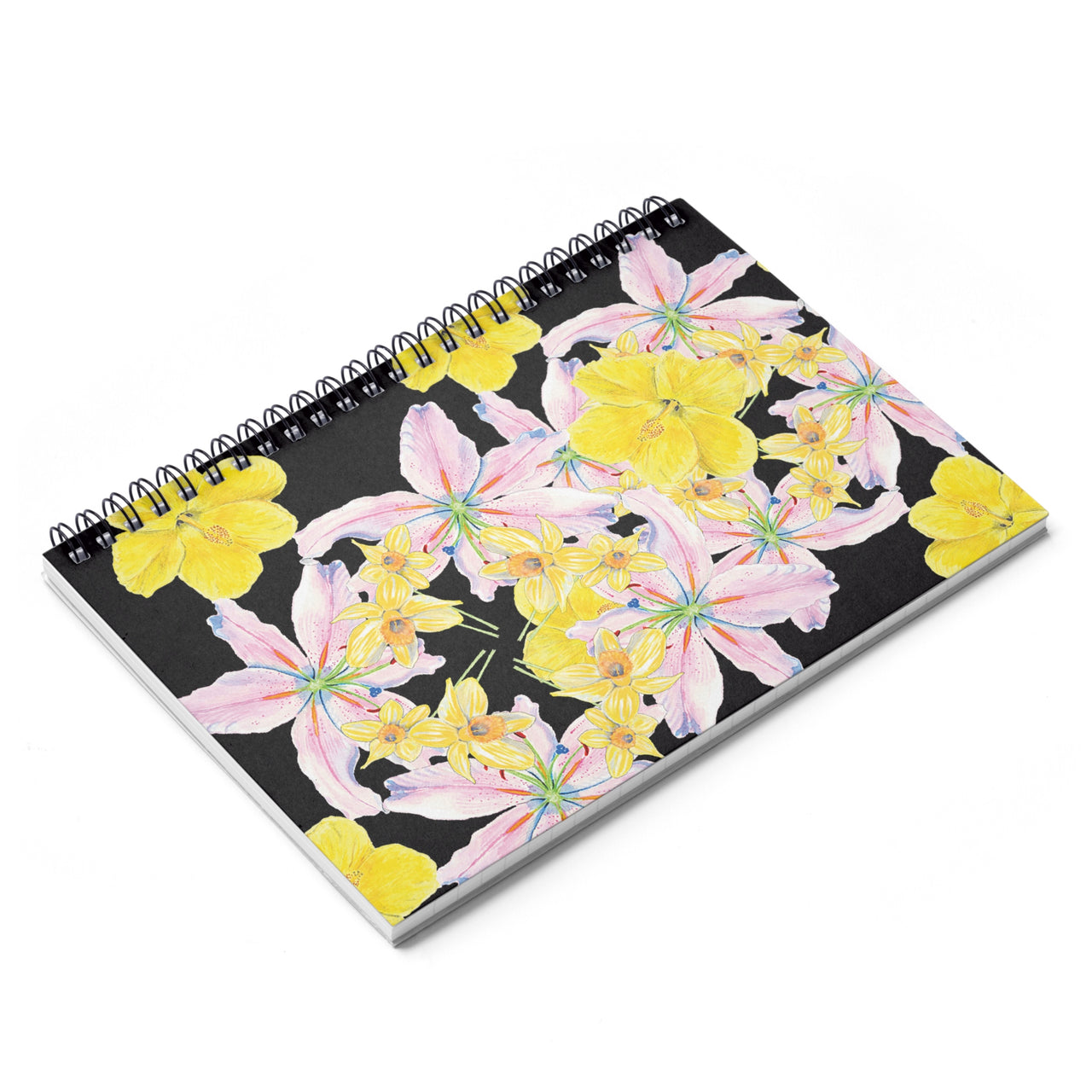 Journal - Pink and Yellow Flower Pattern Spiral Notebook - Ruled Line - Falling Leaf Card Co.