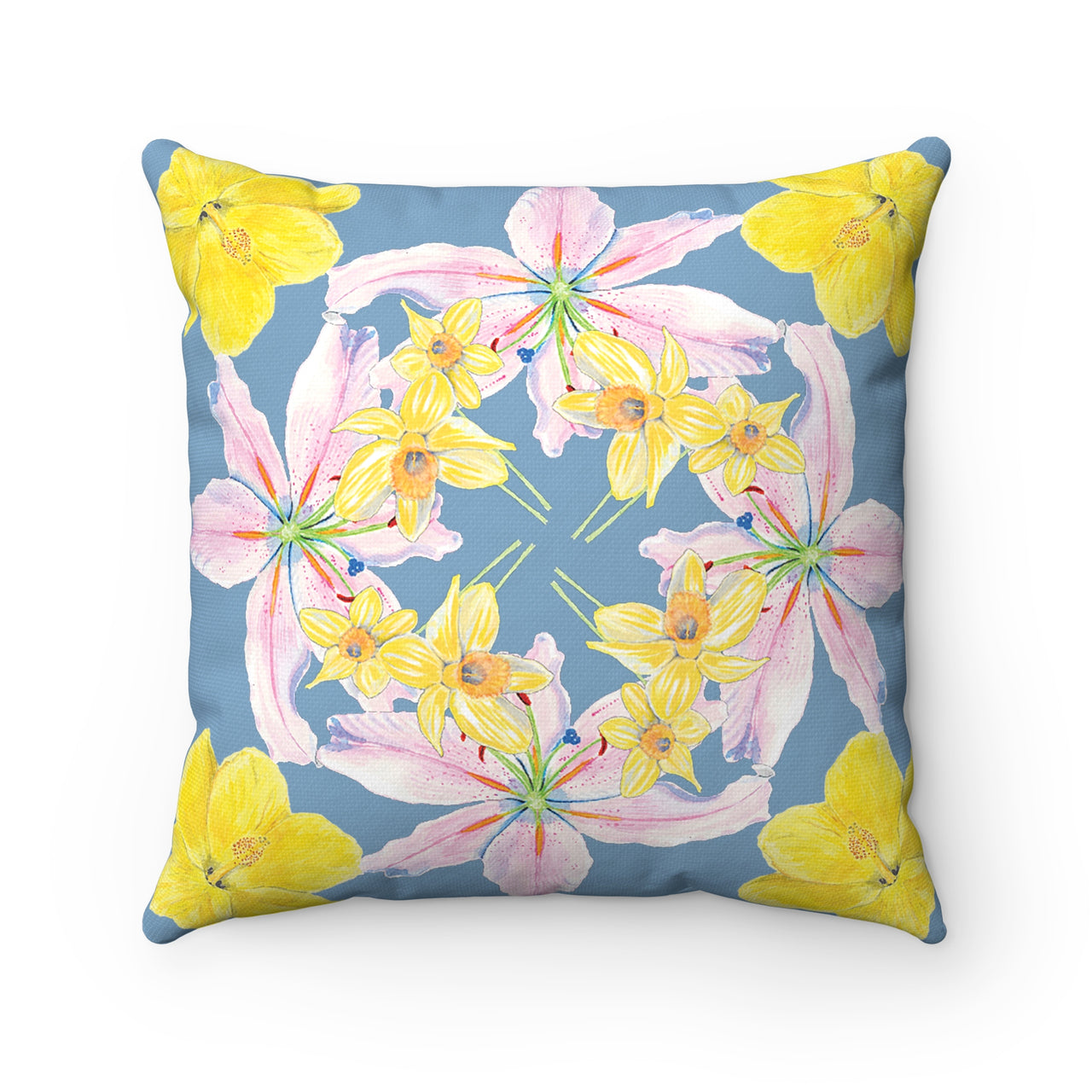 Pillow- Gray with Pink and Yellow Flowers - Square - Spun Polyester - Falling Leaf Card Co.