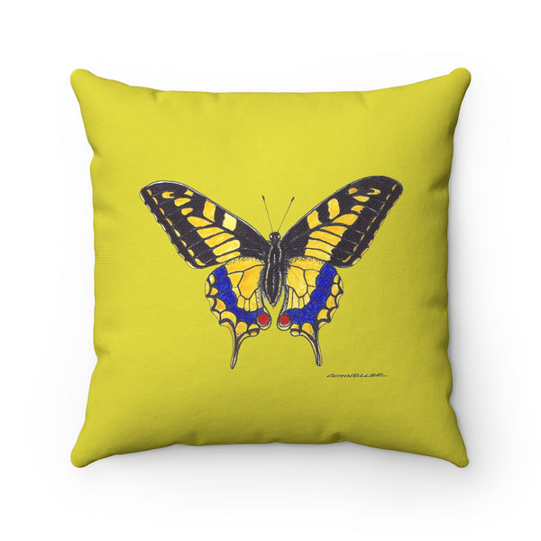 Pillow - Yellow Butterfly - Spun Polyester - Square - Falling Leaf Card Co.