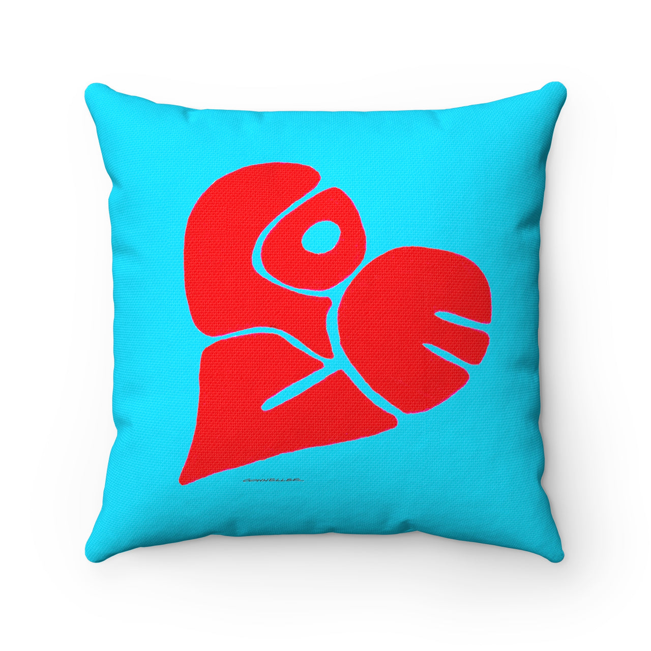 Pillow -Turquoise- Love Heart -Spun Polyester -Square - Falling Leaf Card Co.
