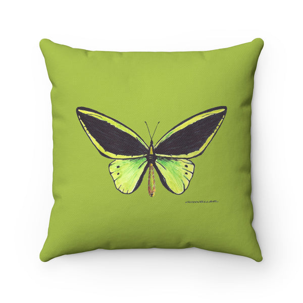 Pillow - Green Butterfly - Spun Polyester Square - Falling Leaf Card Co.