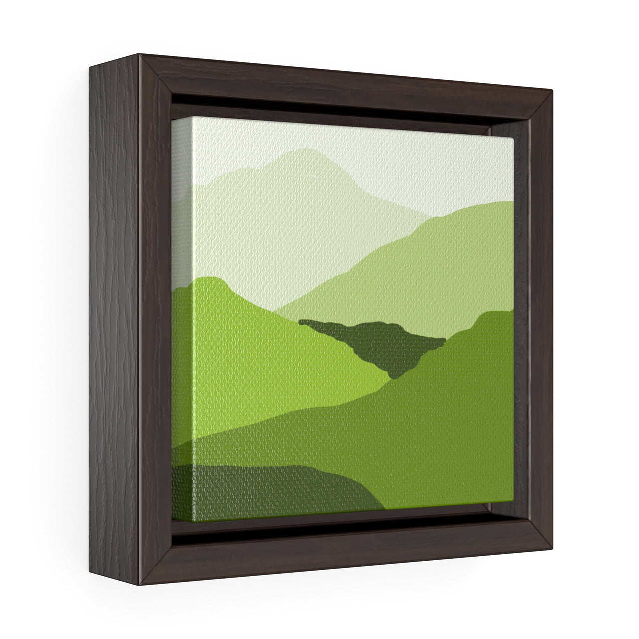 Canvas Wall Print - Green Mountain Landscape - Square Framed Premium Gallery Wrap Canvas - Falling Leaf Card Co.