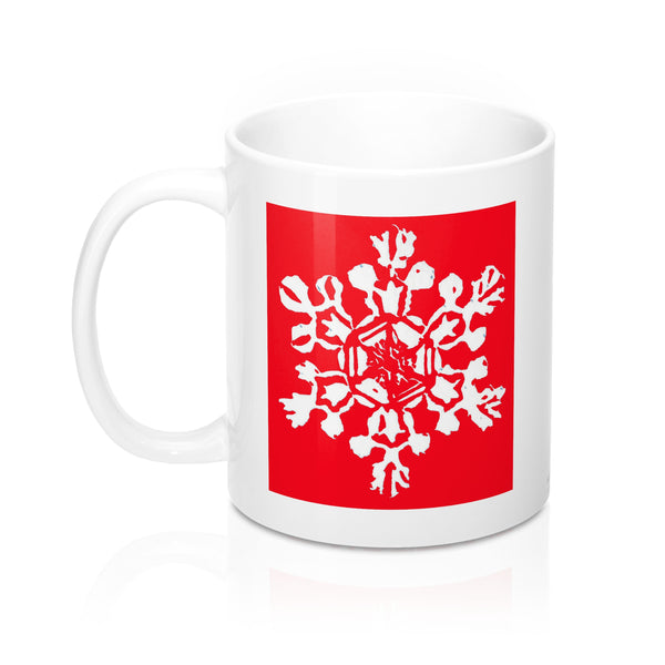 Coffee Mug - Red Snowflake - Falling Leaf Card Co.