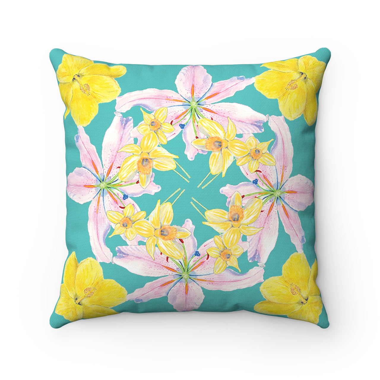 Pillow - Turquoise with Hibiscus, Pink Lily, Daffodil Print - Spun Polyester Square