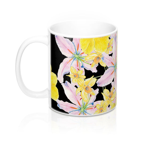 Coffee Mug - Flower - Pink Lily, Yellow Hibiscus, Daffodil - Black Ceramic - Falling Leaf Card Co.