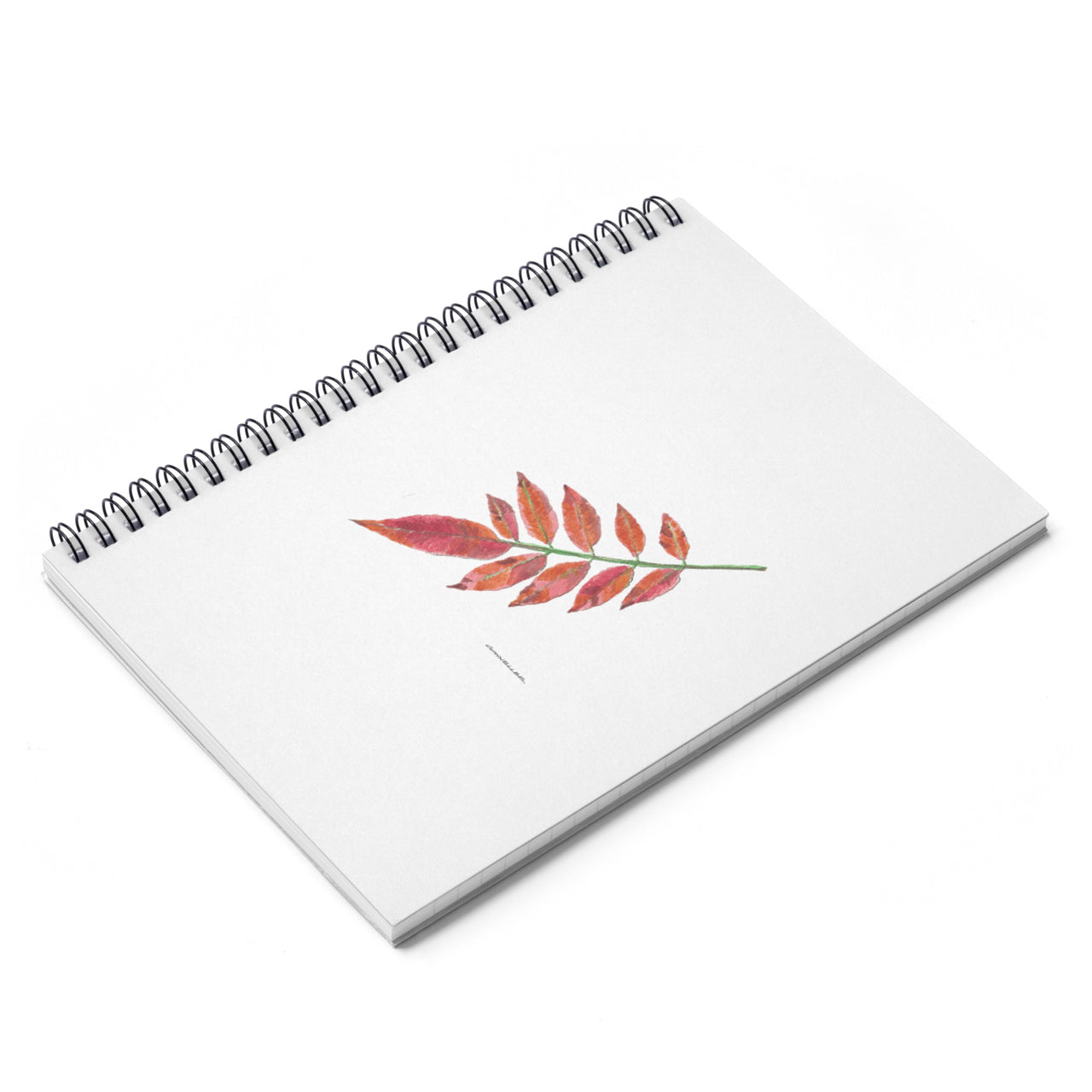 Journal - Sumac Leaf Spiral Notebook - Ruled Line - Falling Leaf Card Co.