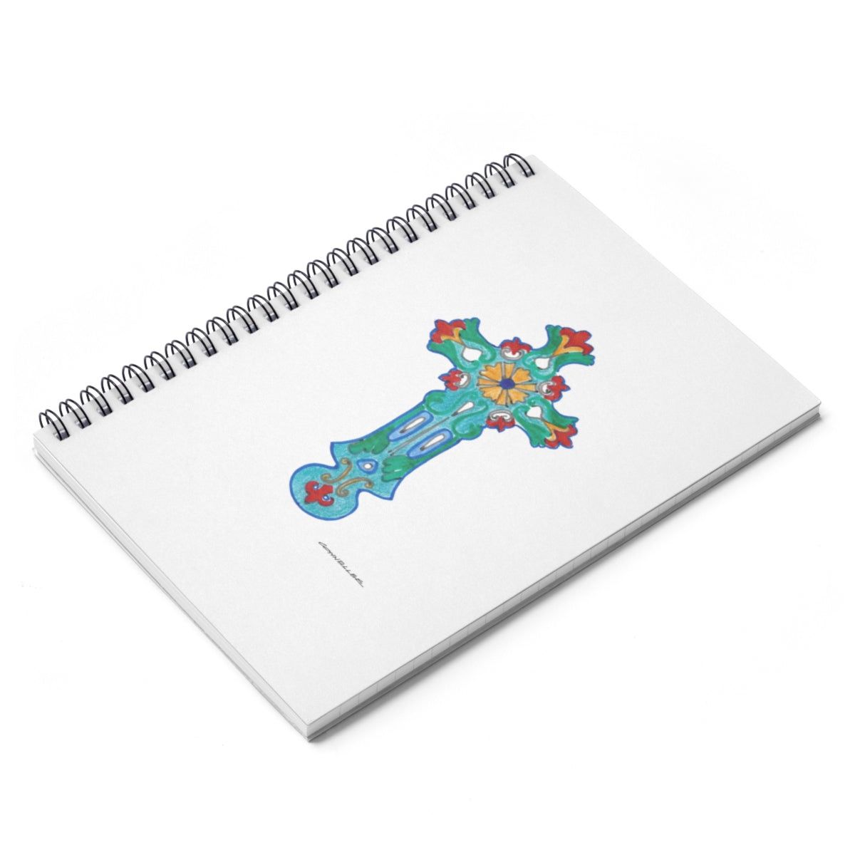 Turquoise Cross Spiral Notebook - Ruled Line - Falling Leaf Card Co.