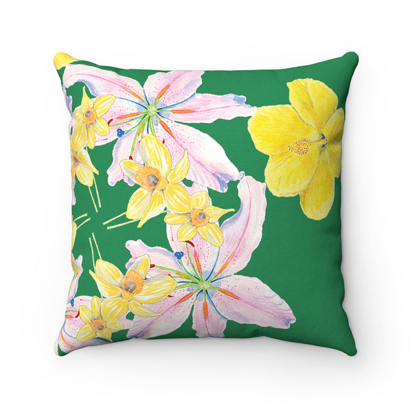 Pillow - Green with Yellow and Pink Flowers Square - Spun Polyester - Falling Leaf Card Co.