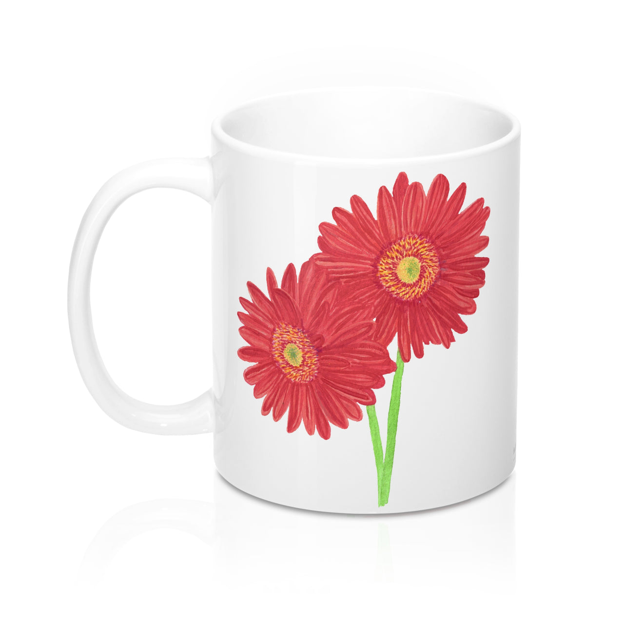Coffee Mug - Red African Daisy - Ceramic - Falling Leaf Card Co.