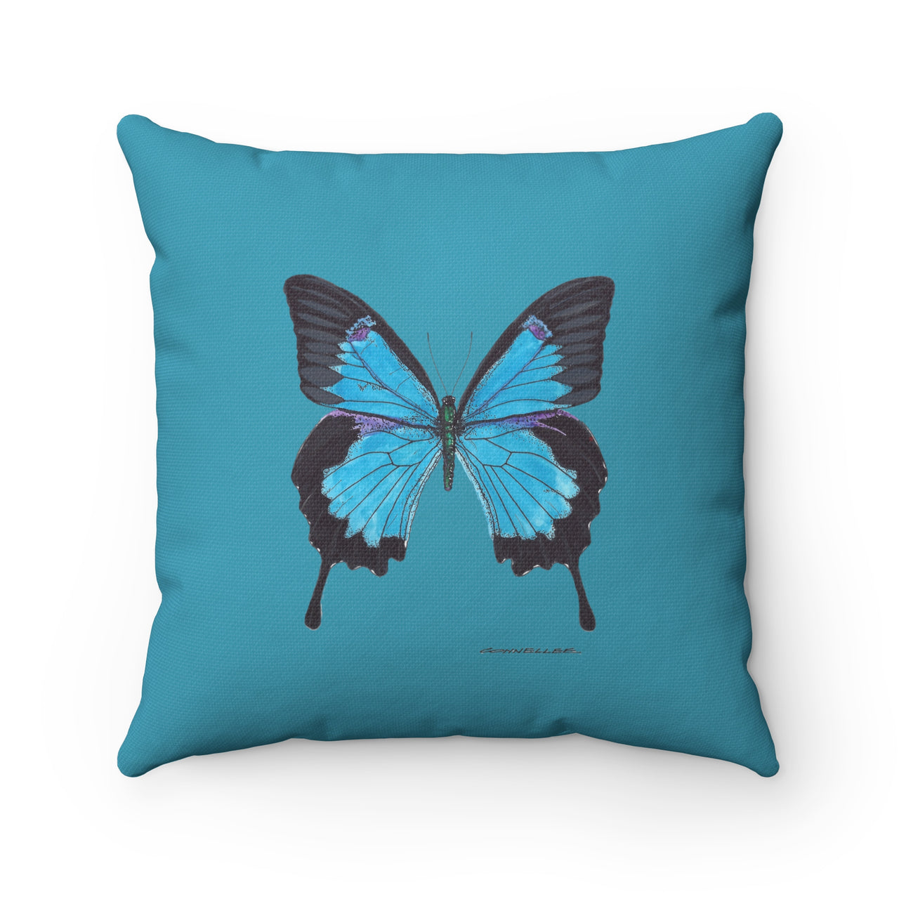 Pillow - Blue Butterfly - Spun Polyester Square - Falling Leaf Card Co.