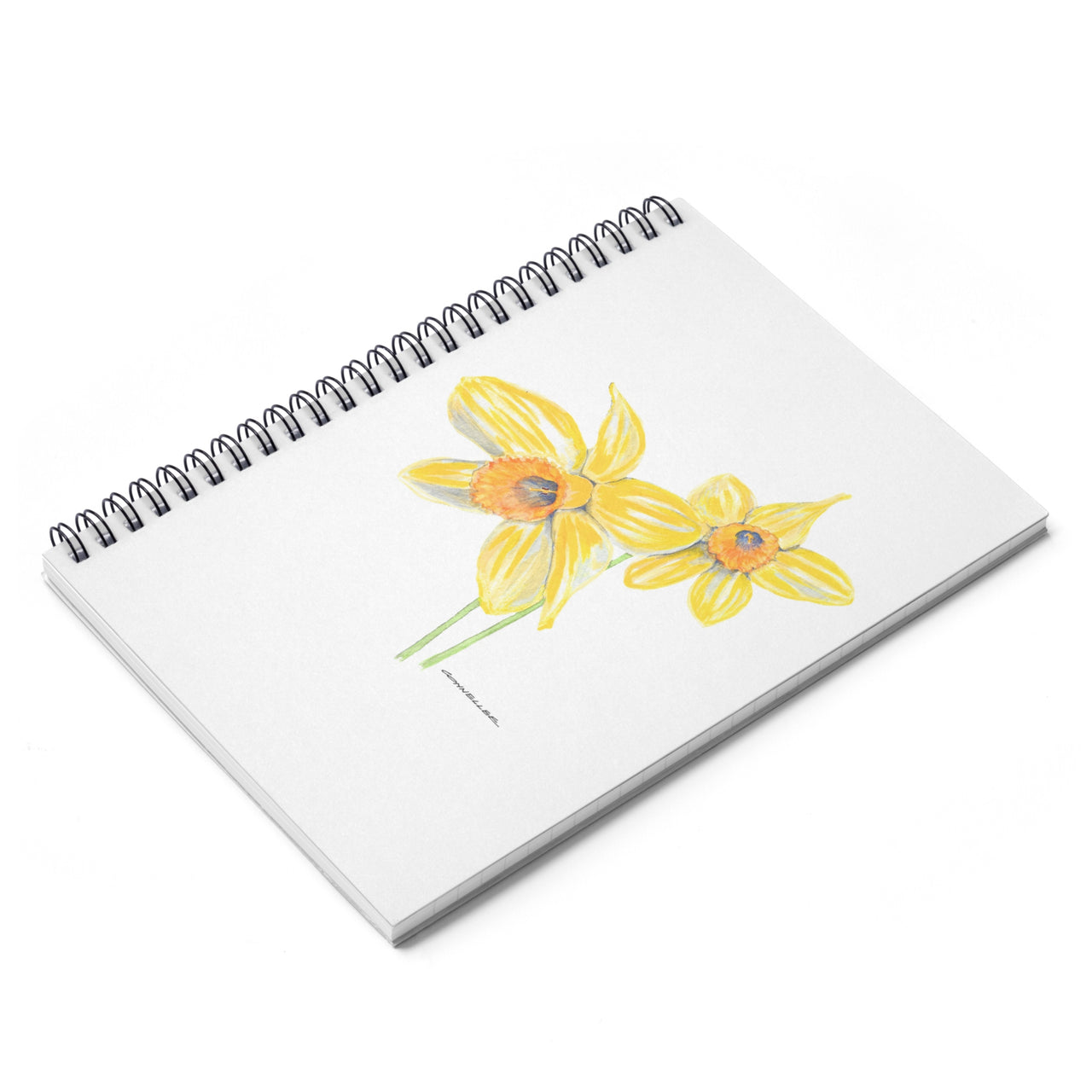 Journal - Yellow Daffodil Spiral Notebook - Ruled Line - Falling Leaf Card Co.
