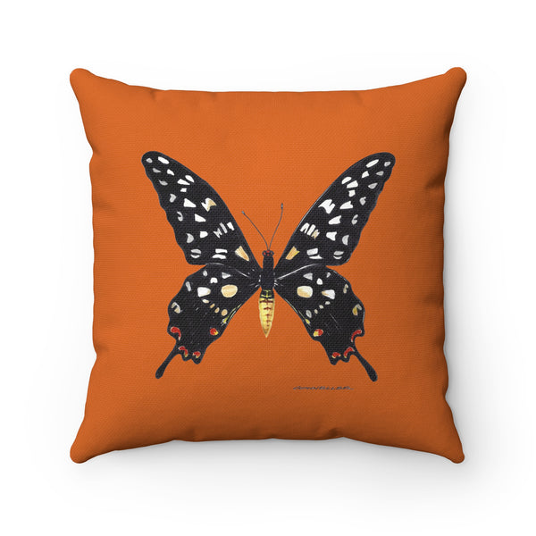 Pillow - Rust with Black Butterly - Spun Polyester Square - Falling Leaf Card Co.
