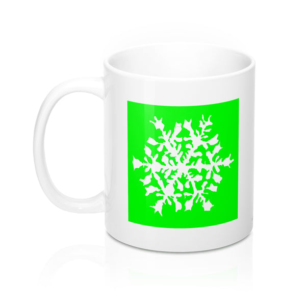 Coffee Mug - Light Green Snowflake - Falling Leaf Card Co.