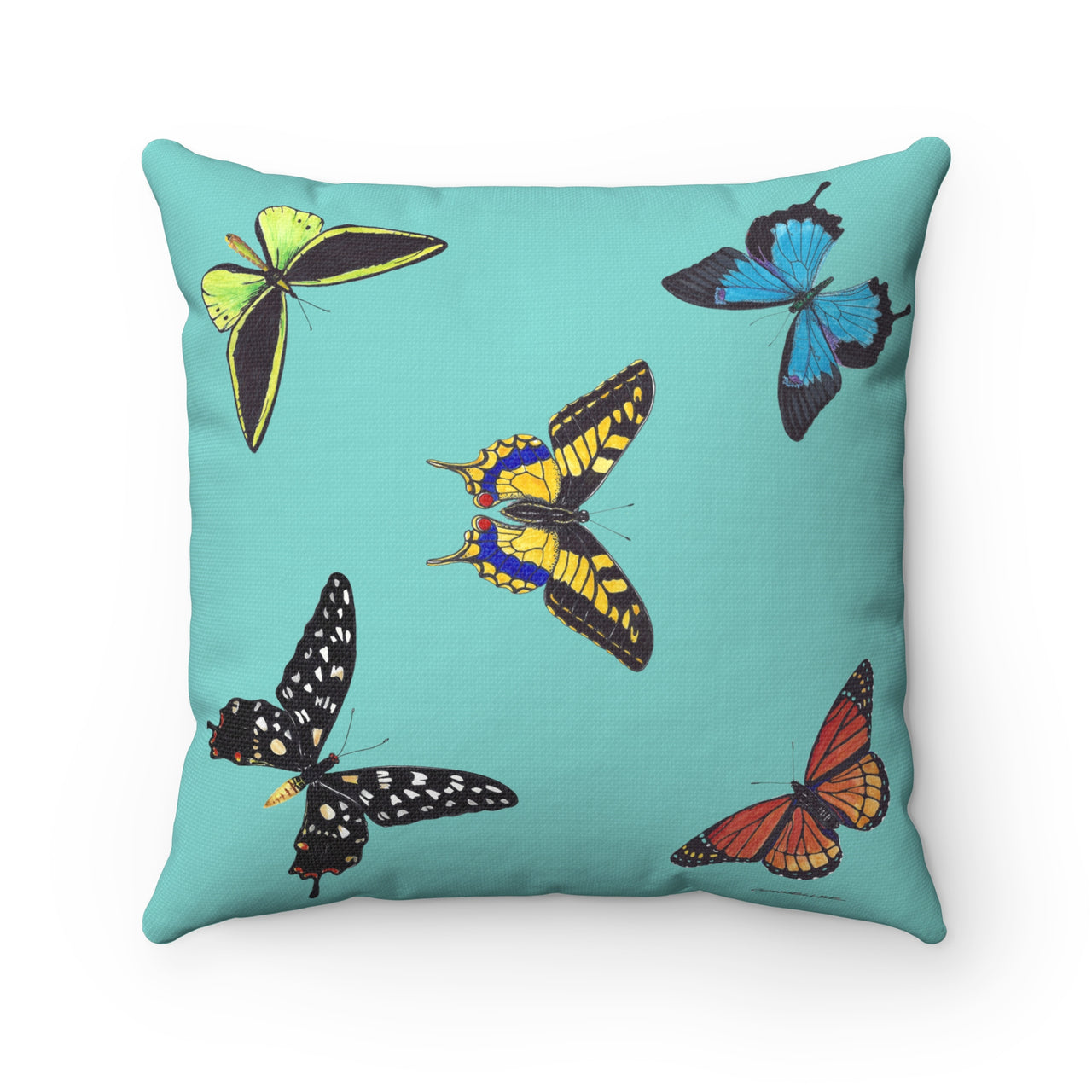 Pillow Teal with 5 Butterflies - Square - Spun Polyester - Falling Leaf Card Co.