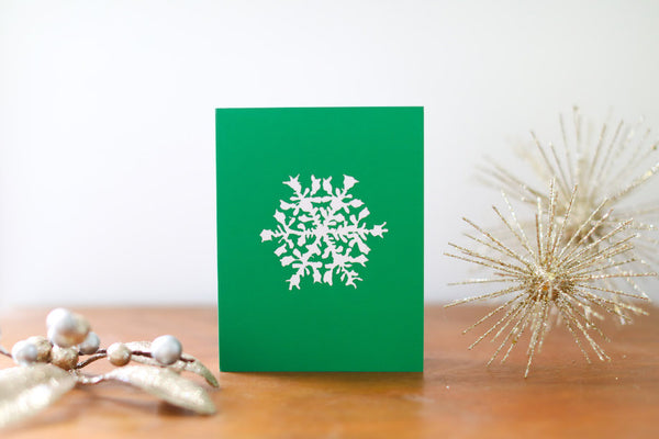 Green Single Snowflake Christmas Card Small - Falling Leaf Card Co.
