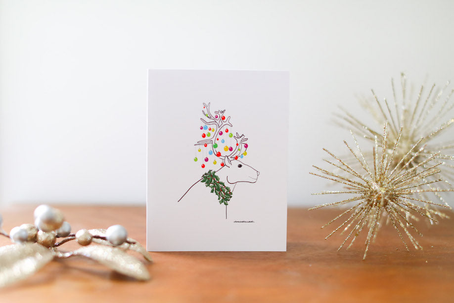 Reindeer Christmas Card - Falling Leaf Card Co.