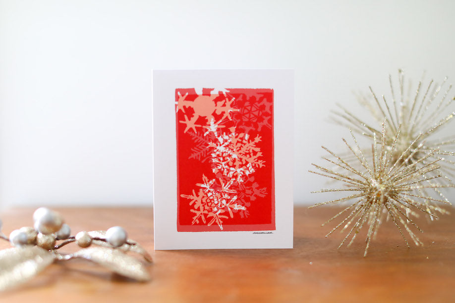 Red Snowflake Multi-Print Christmas Card Small - Falling Leaf Card Co.