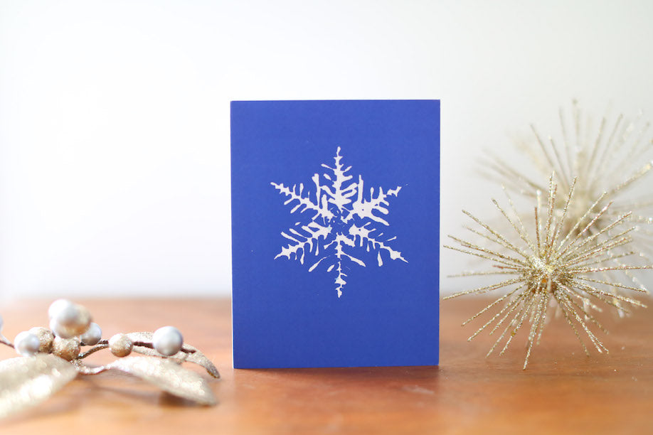 Blue Single Snowflake Christmas Card Small - Falling Leaf Card Co.