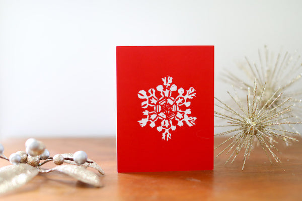Red Single Snowflake Christmas Card Small - Falling Leaf Card Co.