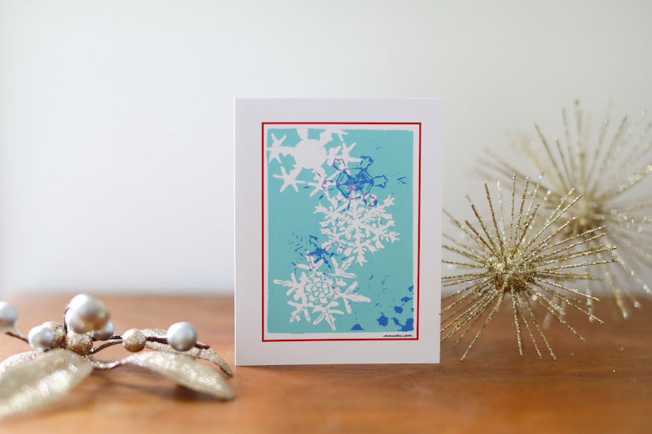 Turquoise Snowflake Christmas Card Small - Falling Leaf Card Co.