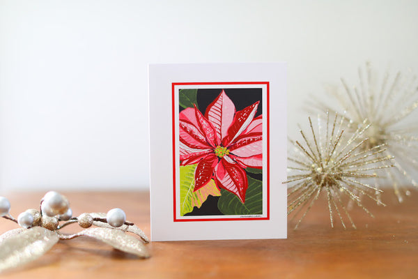 Poinsettia Christmas Card (Blank) - Falling Leaf Card Co.
