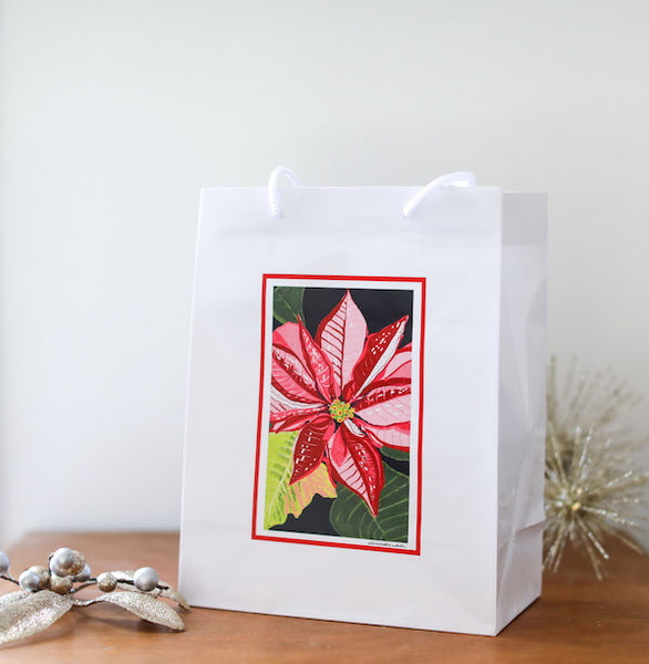 Poinsettia Gift Bag - Falling Leaf Card Co.