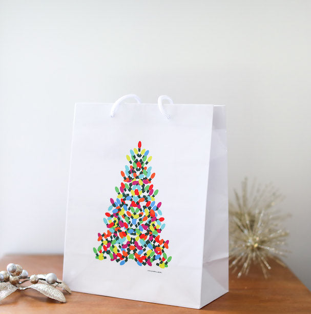 Christmas Light Tree Gift Bag - Falling Leaf Card Co.