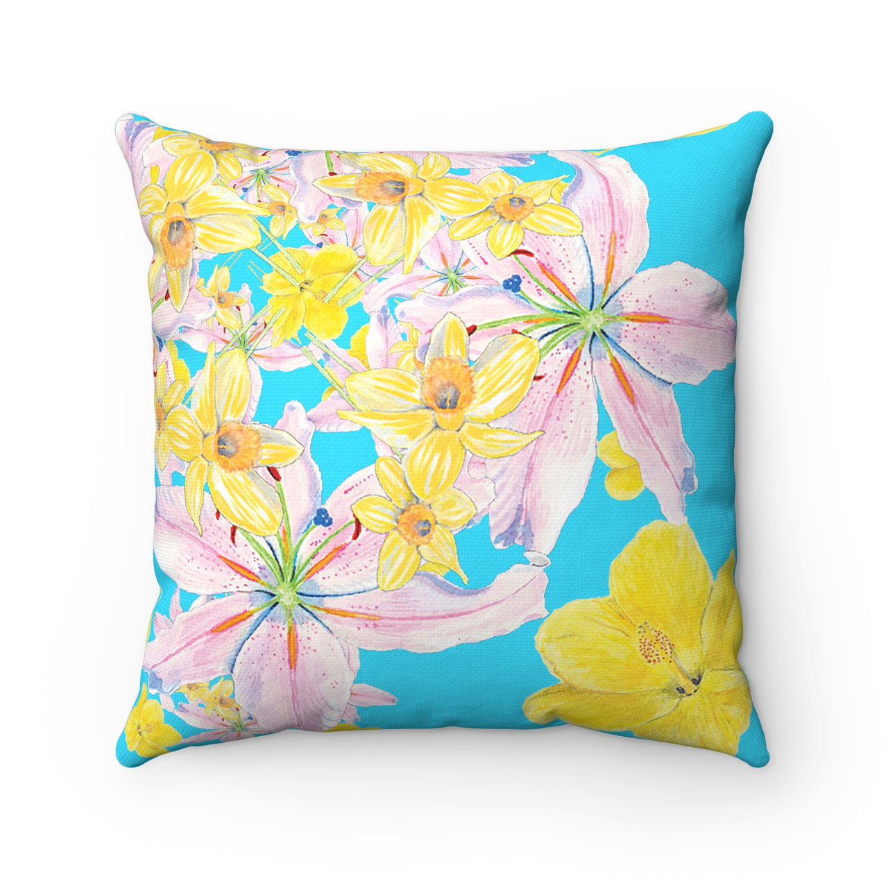 Pillow - Turquoise - Pink and Yellow Flower Square - Spun Polyester - Falling Leaf Card Co.